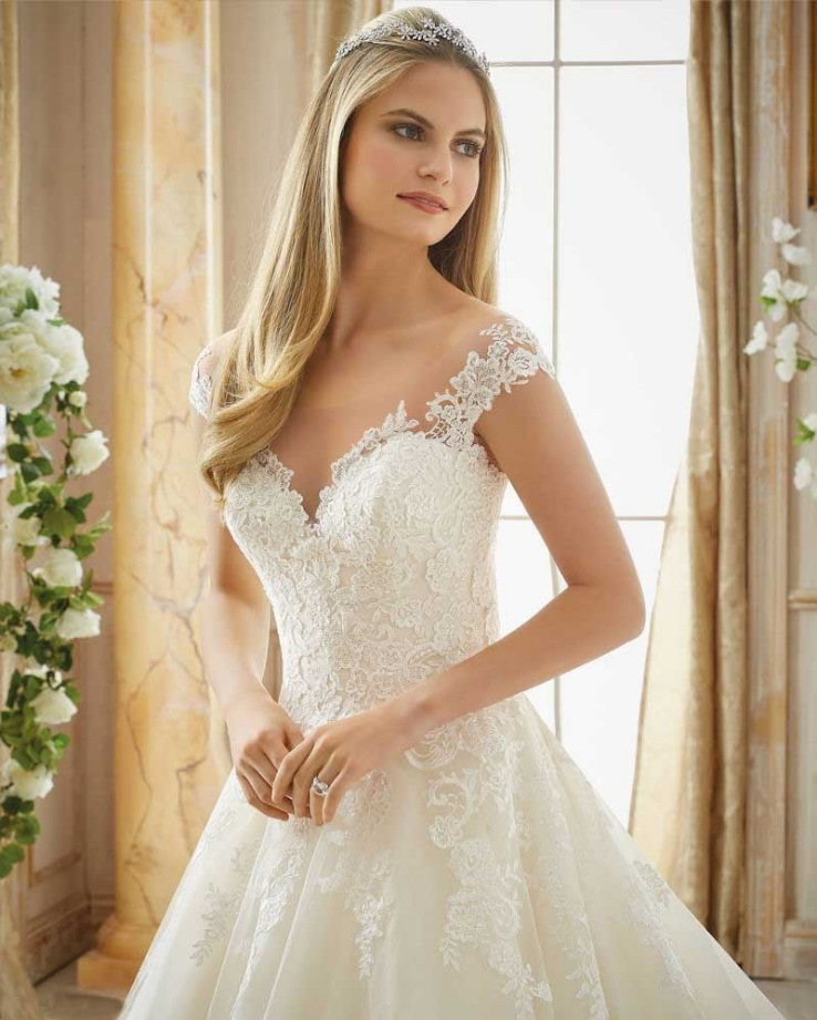 New Cap Sleeves Appliques Lace Dresses for Wedding Party 2019 Princess Bridal Gowns Sheer Buttons Wedding Gowns robe de mariee in Dresses from Women 39 s Clothing