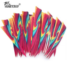 50pcs Archery 4inch Arrow Fletches Natural Turkey Feather Right Wing Arrow Feathers For Outdoor Bow Hunting Shooting Accessories 50pcs archery 2inch rubber feather arrow feathers drop shape fletches for outdoor bow and arrows hunting shooting accessories