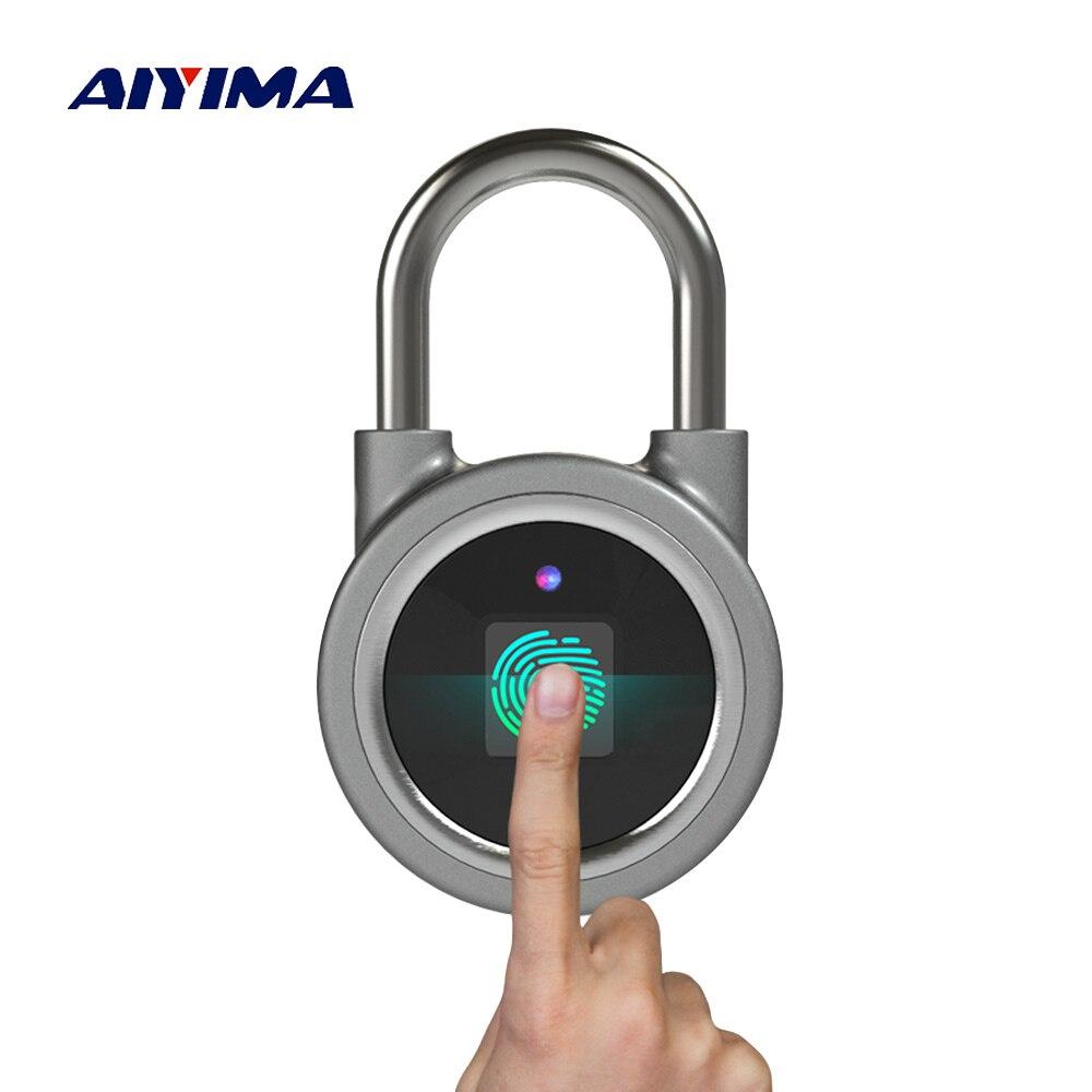 AIYIMA cadenas d'empreintes digitales étanche APP bouton mot de passe déverrouiller antivol cadenas serrure de porte pour système Android IOS