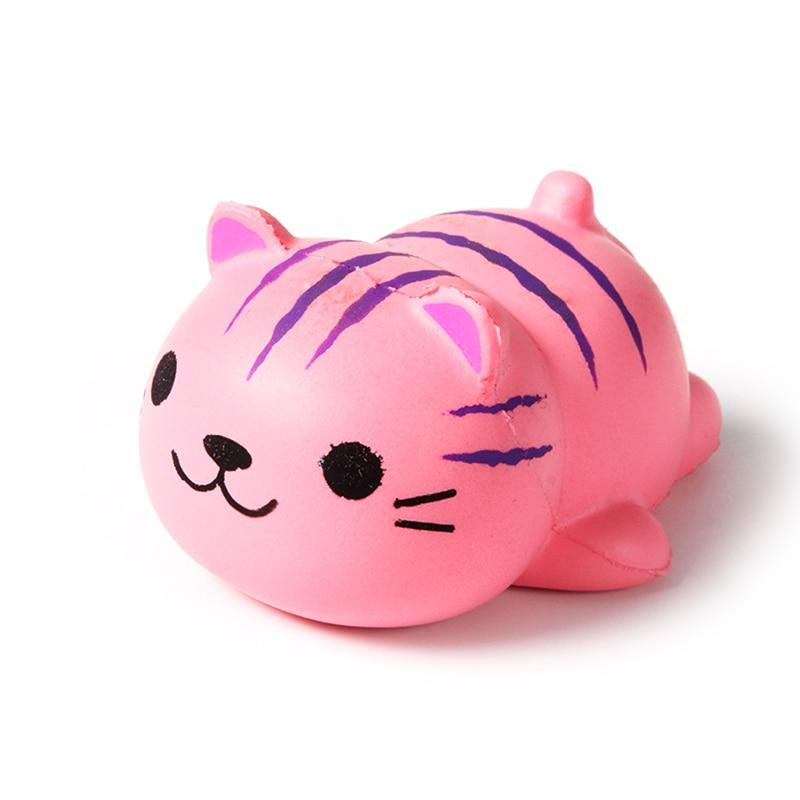 Jumbo Cute Cartoon Pink Cat Squishy Toy 10CM Slow Rising Lying Animal Phone DIY Decor Soft Squeeze Fun Kid Toy Gift