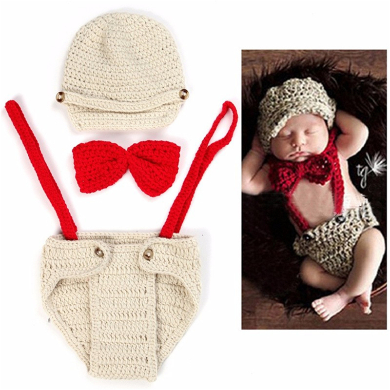 Newborn Photography  Baby Girl Prop Photo Crochet Knit Costume Gentleman Knitted Baby Hat And Toy Set Girl Boy Knit Warm Baby