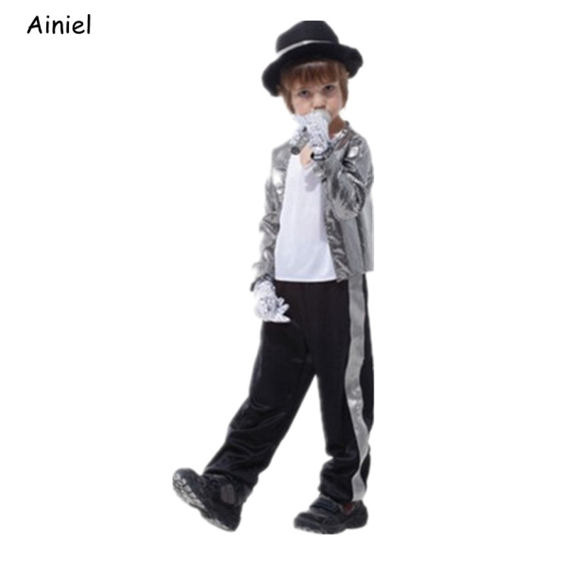 Ainiel Michael Jackson Performance Cosplay Costumes Hat Jacket Pants Glove Clothes Sets Halloween Party Costume for Boys Kids