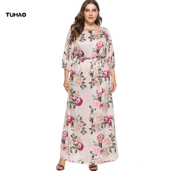 efb920d829 TUHAO 2018 otoño invierno más tamaño 3XL largo Maxi vestido para damas Sexy  Vintage Rosa impresión estampado bohemio Mujer Vestidos Oversize LJ19