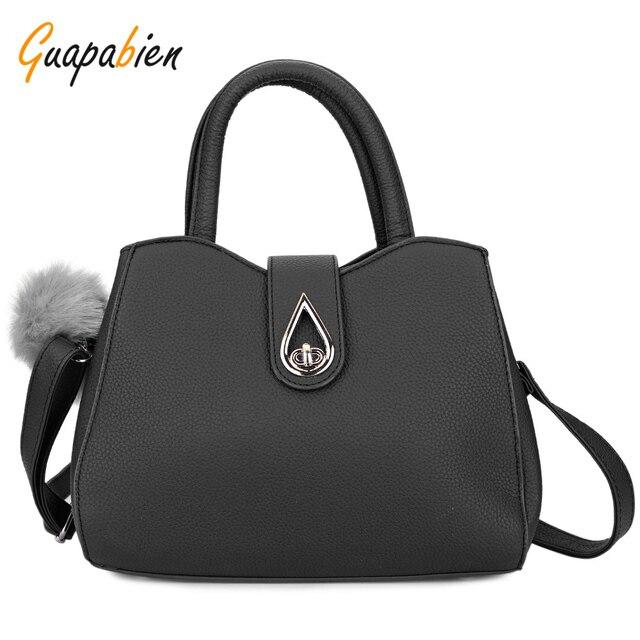 Guapabien Solid Color Ladies Tote Bag Water Drop Lock Zipper Hasp Handbag Luxury PU Leather Shoulder Cross Body Bags for Women