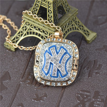 1999 New York Baseball Team Champion Necklaces Pendants Gold-color Crystal Pendant Chain Necklace