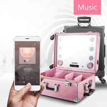 Professional Makeup Case with Light Multimedia Bluetooth Cosmetic Box Trolley without Legs