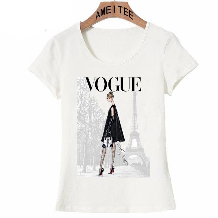 Vintage Vogue Paris Black printing Girl Shirt Summer Fashion T Shirt novelty casual Tops 19