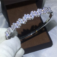 Office Lady Baguette Cuff Bridal Bracelet AAAAA Zircon Cz White Gold Filled Engagement Bangle For Women