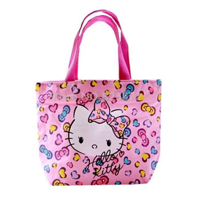 383b6c0fab Kawaii Cute Hello Kitty Cat Bow Heart Printing Pink Girls Lunch Tote Bag  for Women Kids