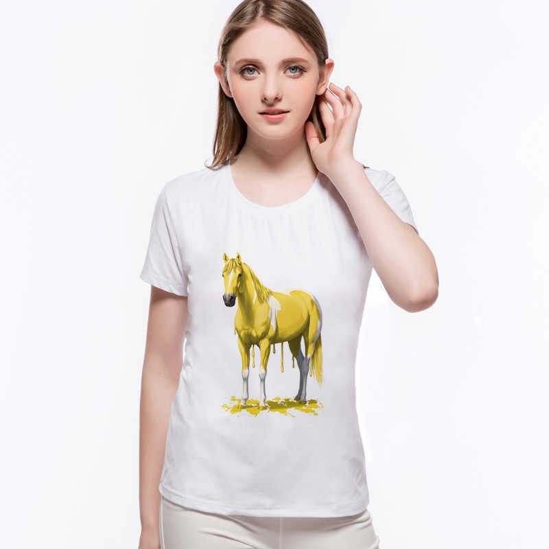 New Hip Hop Stampato Arcobaleno Cavallo Unicorno Rosa T Shirt Manica Corta Girocollo Camiseta Feminina Divertente Magliette e camicette L6-A5