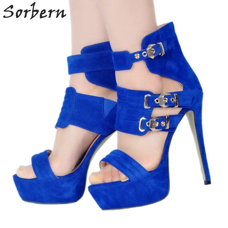 Sorbern Royal Blue Platform Shoes Women Chinese Size 16 Heels High Shoes Women Plus Size Women Size 10 Women Shoes 2018 Designer