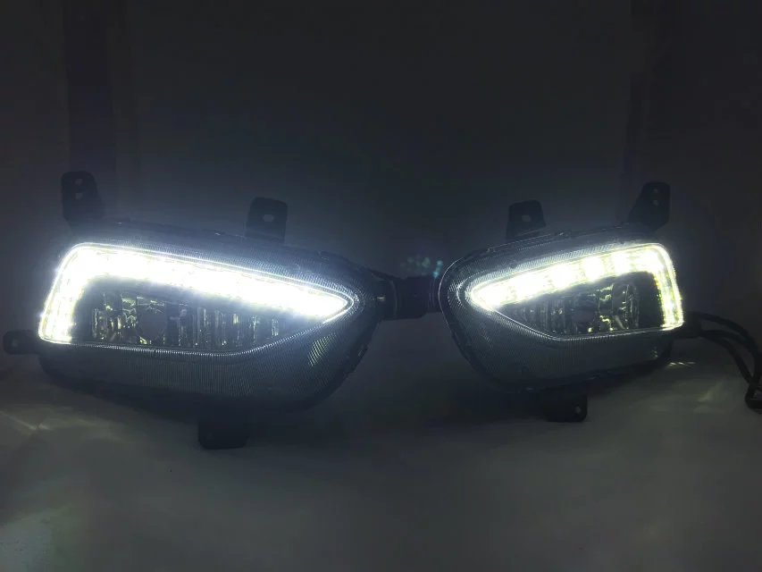 New arrival led drl daytime running light with fog lamp house for Hyundai Tucson, 2pcs, top quality new arrival a pair 10w pure white 5630 3 smd led eagle eye lamp car back up daytime running fog light bulb 120lumen 18mm dc12v