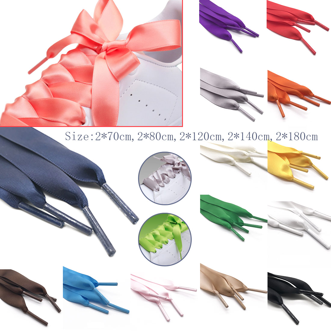 1Pair Colors Women Sneaker ShoeLace 80/120/140CM Length  2 CM Width Silk Flat Shoe Laces Lacets New Satin Silk Ribbon Shoelaces