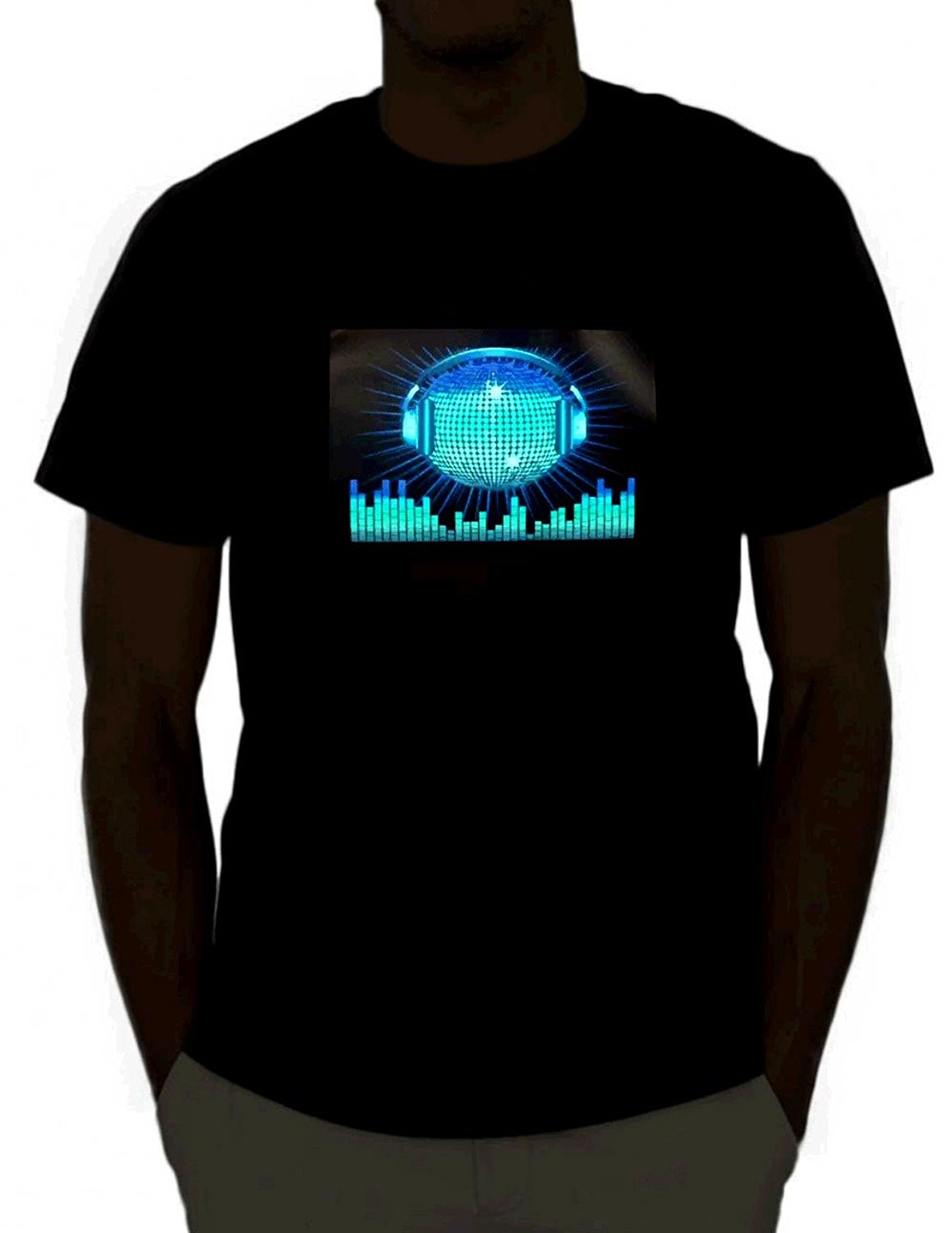 EmazingLights DJ Sound Activated Light Up Rave T-Shirt for Man Hipster O-Neck Causal Cool Tops Interesting Pictures T Shirt
