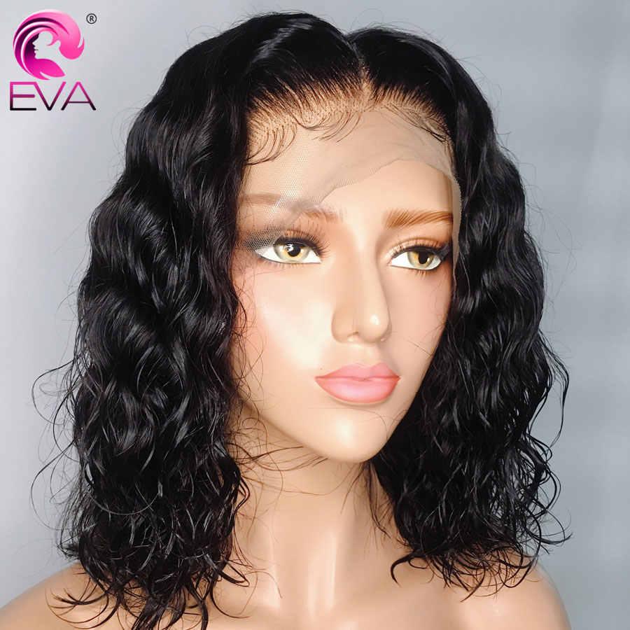 Eva pelo 360 peluca Frontal de encaje con pelo de bebé Pre desplumado corto encaje Frontal pelucas de cabello humano para mujeres negras pelo Remy brasileño
