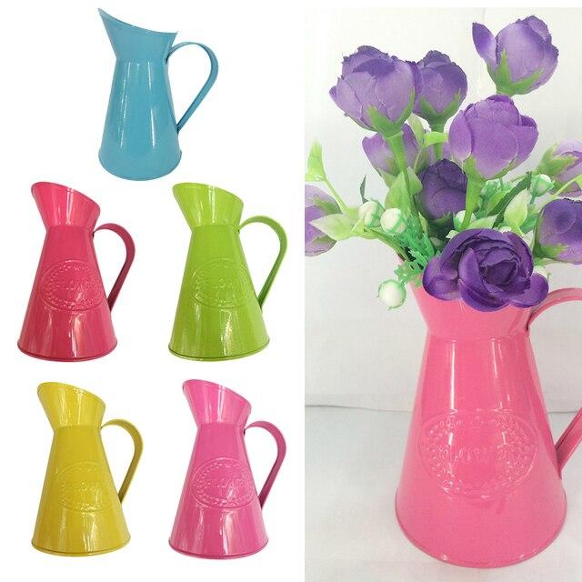 New Hot Sale Shabby Chic Retro Metal Jug Vase Flower Pitcher Wedding