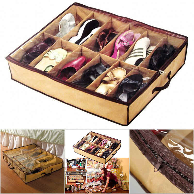 12 Cells Shoes Box Home Storage Shoe Organizers Under Bed Foldable Shoe Container Storage Organizer Holder Closet Drawer Box