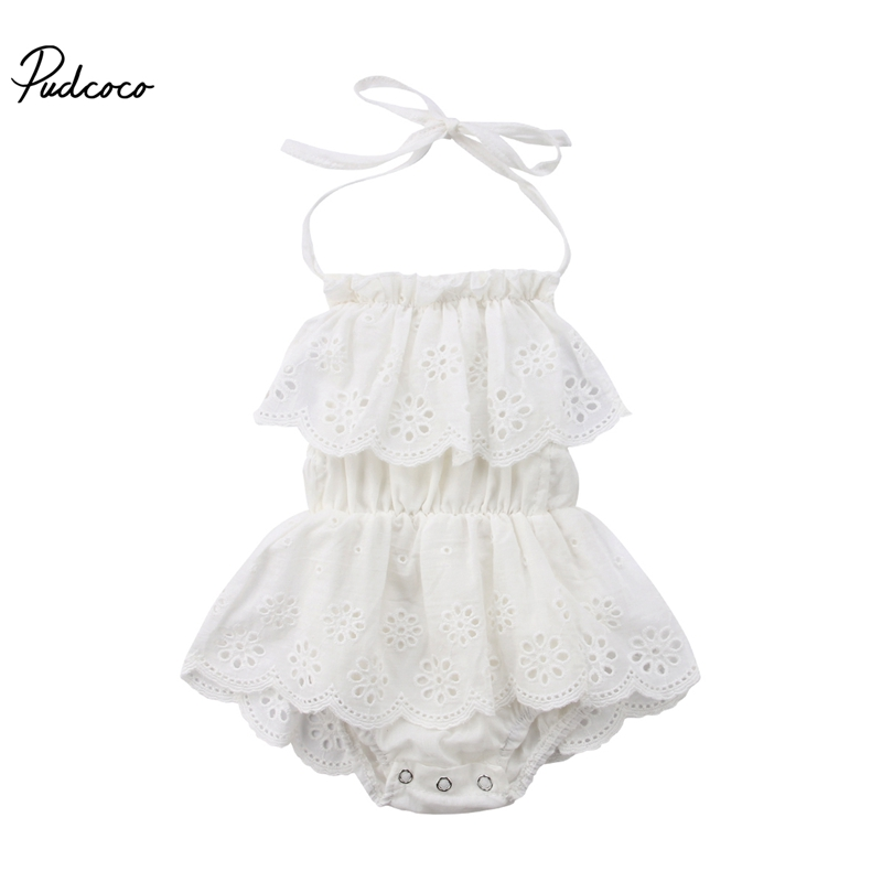 Cute Newborn Kids Summer Casual Sleeveless Hollowed Ruffle Floral Halter Lace Up Band Rompe r0-24M Baby Girl Outfit Clothes New