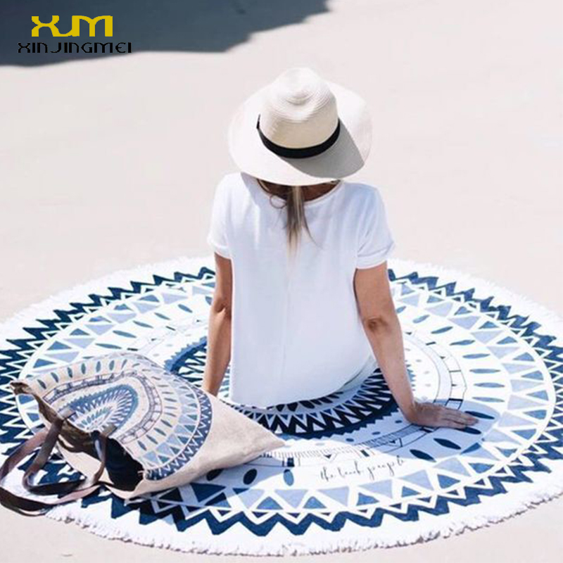 2017 Toalla de playa redonda para tomar el sol Azul Floral Beach Cover Ups Round Beach Mat Swimsuit Cover Up Bikini Cover Up with Tassels