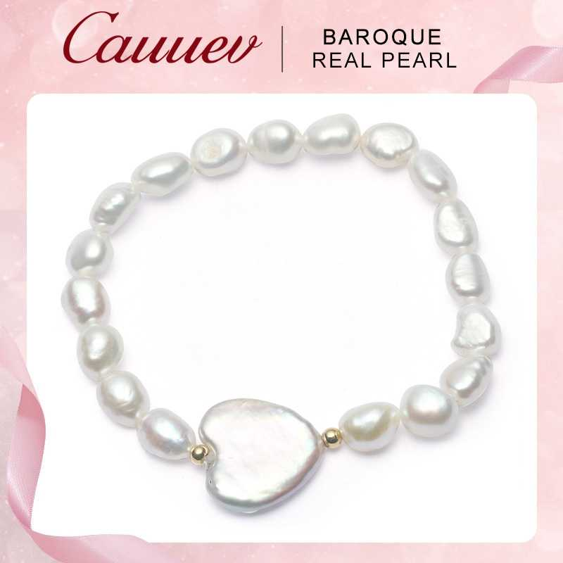 Cauuev Genuine  Natural Freshwater Pearl Bracelets for women 12-13mm Heart-shaped pearl Big Button Baroque Pearl Jewelry 2019