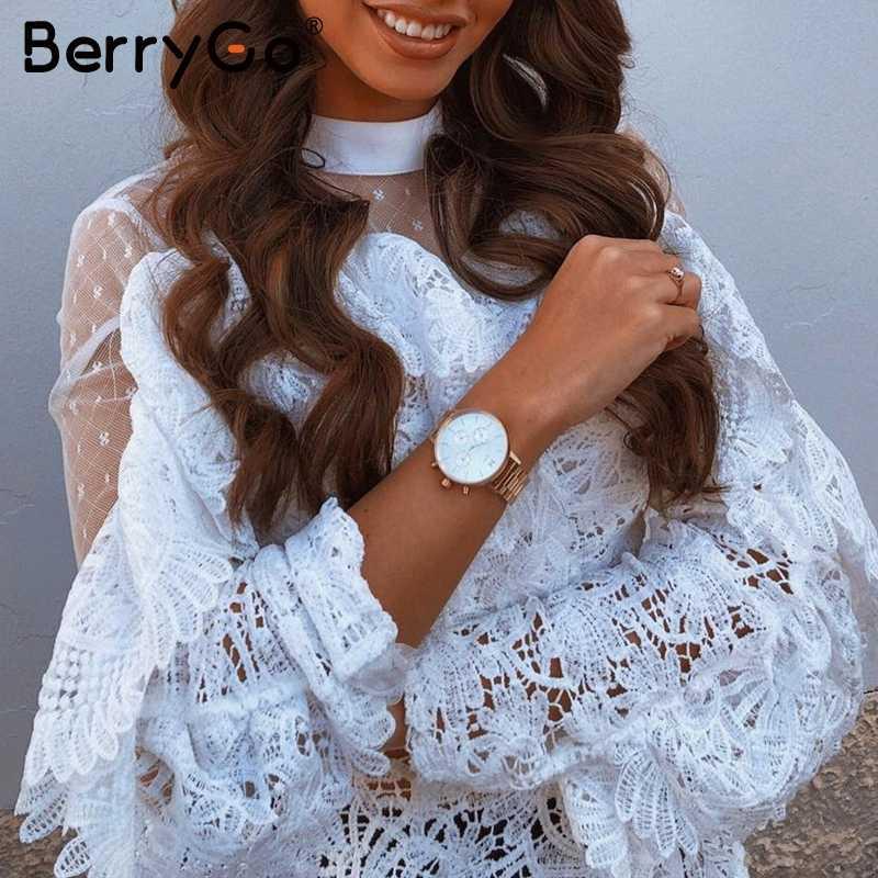 BerryGo Seksi Dantel beyaz kadın bluz Zarif ruffled mesh hollow out nakış uzun kollu kadın üstleri bayanlar parti gömlek tops