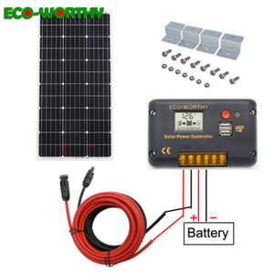 Image 1 - ECOworthy 100W solar system : 100W mono solar power panel& 20A LCD controller& 5m black red cables Z charge FOR 12V battery