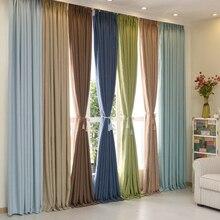 Color sólido estilo moderno panel de la cortina del apagón para ventana de la sala dormitorio de tamaño personalizado