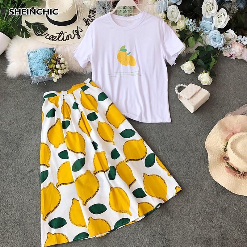 Summer 2019 Designer Women Two Piece Set Fruit Print Short Sleeve Chic Tops+Lemon Patter Midi Skirt Female Two Piece Set Suits