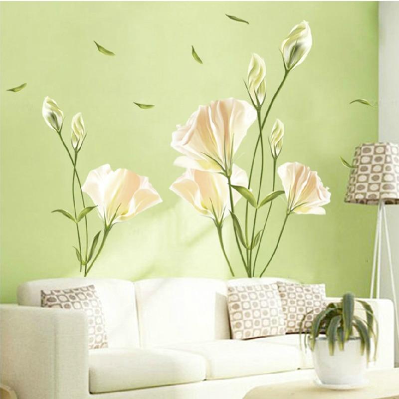 Настенная Наклейка с цветами лилии, 80x110 см, домашний декор, Настенная Наклейка для гостиной