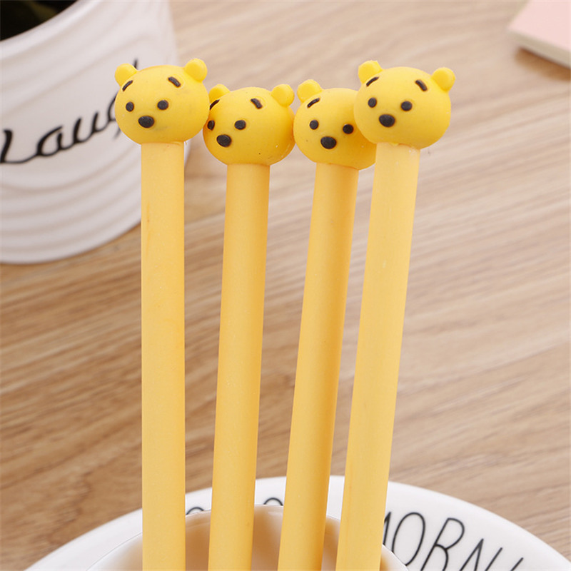 4Pcs Korean Lovely Cute 3D Bear Gel Pen Creative Kawaii Stationery Store Cartoon Anime Kids Funny School Material Thing Supply