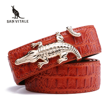 Men's Belts for Business Man Strap Cow Split Leather Crocodile Belt Good High Quality New Designer Buckles Gifts for Male Jeans