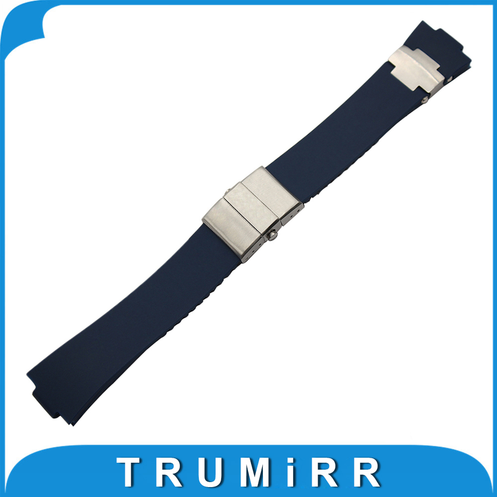 Silicone Rubber Watchband 25 x 12mm for Ulysse Nardin 263 Marine 1183 Observatory Blue Seal Convex