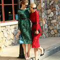 High Street Dresses 2017 Early Spring New Fashion Long Sleeve Lace Red / Black / Green Appliques Slim Belt Split Elegant Dress