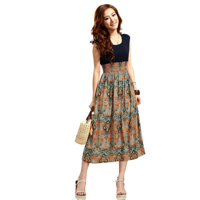 e2030f751fb WEIXINBUY 2016 Women Casual Bohemian Dress Vintage Print Patchwork Women  Long Summer Beach Dresses KR1