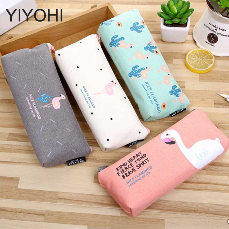YIYOHI 1pcs/sell Portable Canvas Flamingos Womens Travel Cosmetic Bags High Quality Makeup Bag Make Up Bag  For Women aosbos fashion portable insulated canvas lunch bag thermal food picnic lunch bags for women kids men cooler lunch box bag tote