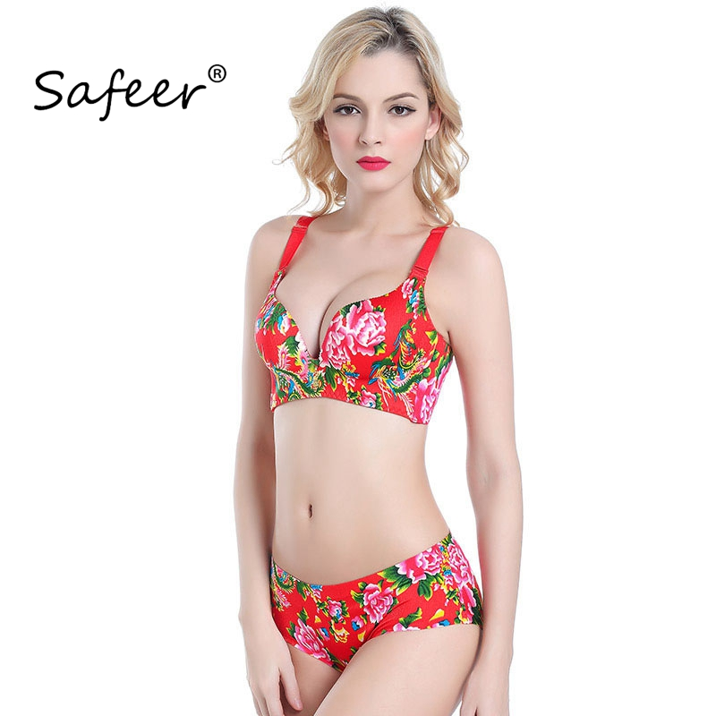 Push Up Underwear Set Padded Bra and Brief wire free Bras Sexy Women Flower  Panty Lady red BH Seamless Chinese Designer green 8fa2125c0