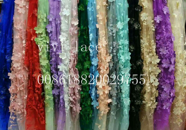 AA005# purple luxury 3d flower good quality pattern luxury  embroidery  tulle mesh lace fabric for wedding/evening dress/party