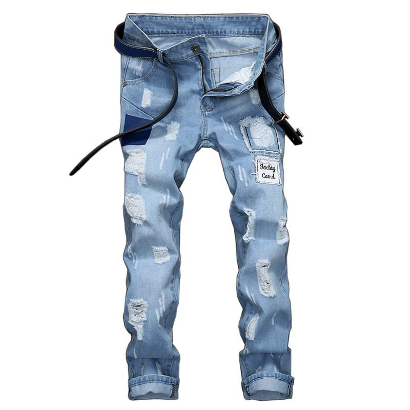 #1543 Patch jeans men Fashion Slim fit Destroyed denim Skinny ripped jeans for men Casual Biker jeans homme Distressed jeans