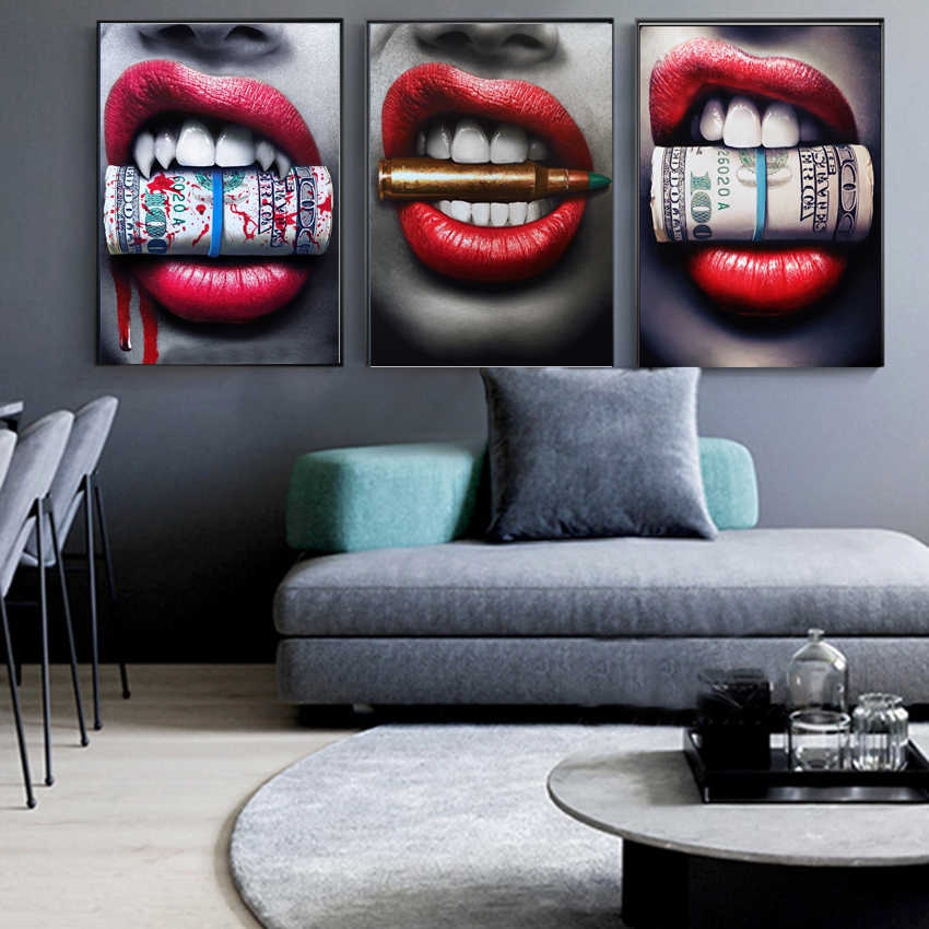 Red Lips with Money Quote Poster Print Wall Art Oil Painting on Canvas Picture Living Room Bar Idea Creative Home Decor