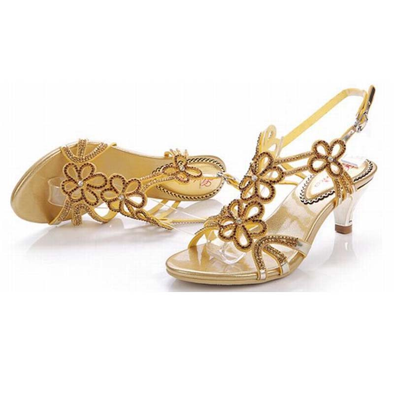 super fashion 2018 women flowers rhinestone high heel sandals ladies summer buckle party wedding pumps gold crystal female shoes weiqiaona european 2018 women new fashion show leather snake skin rhinestone flowers high heel sandalss sexy ladies party shoes