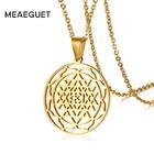 Meaeguet Mandala Meditation Necklace for Women Sri Chakra Pendant Gold Color Stainless Steel Chain