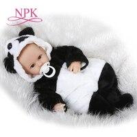 NPK lifelike reborn baby doll vinyl vinyl silicone soft real touch 40cm cotton body panda newborn girls doll kids Birthday gifts