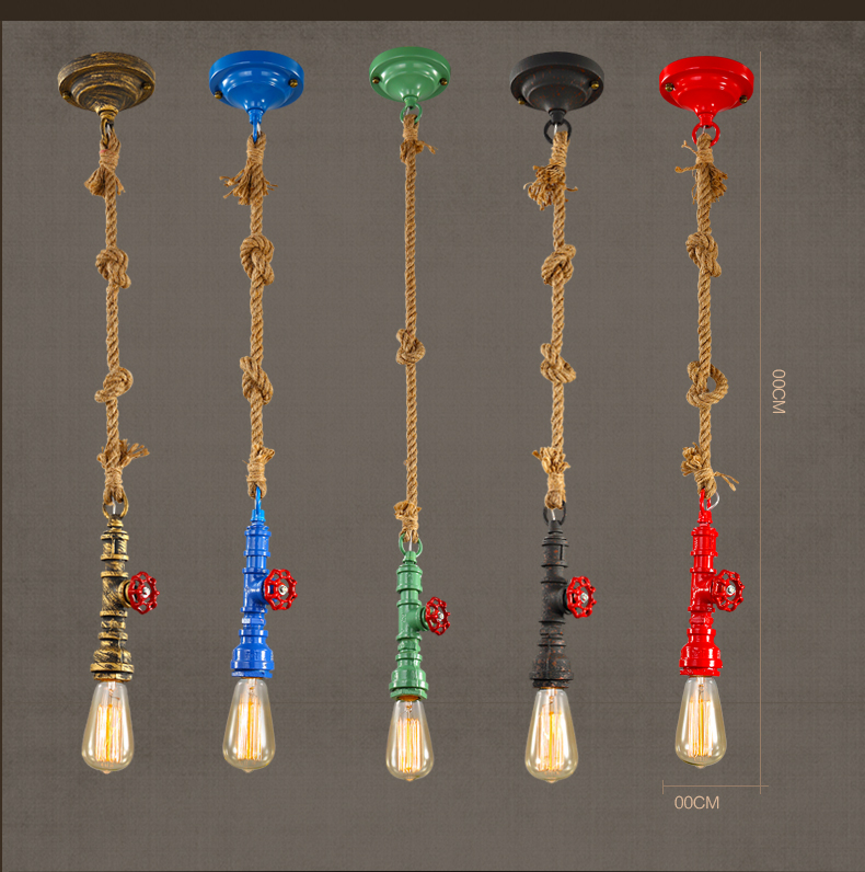 Colourful Water Pipe & Hemp Loft Industry Vintage Style Single-head Pendant Lamp Coffee  ...