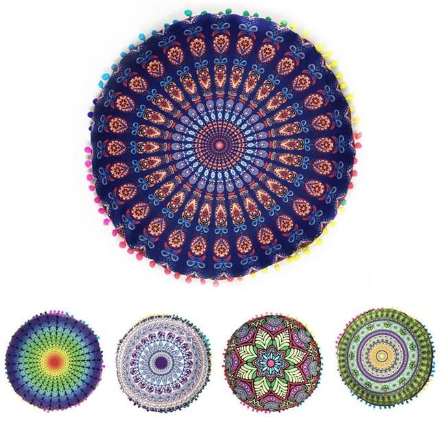 Indian Mandala Floor Pillows Round Bohemian Cushion Cover Sofa ...