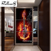 FULLCANG Flame guitar triptych diy diamond painting cross stitch full square diamond embroidery musical Instruments mosaic E620