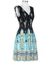 Womens New Style Beach Floral Print V Neck V Back Retro Vintage 50s Casual Party Robe Rockabilly Dresses Vestidos Femininos