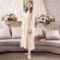Marca das mulheres do vintage longo camisola princesa camisola de algodão estilo retro senhoras vestido para casa para dormir longo pijama manga