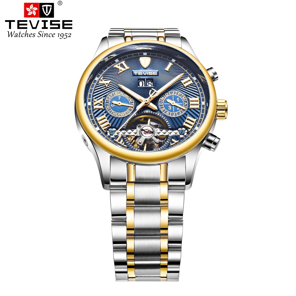 TEVISE Mens Automatic T806A Self-wind Wristwatches Week Display Auto Date Man Watches Complete Calendar Moon Phase Watch RelojesTEVISE Mens Automatic T806A Self-wind Wristwatches Week Display Auto Date Man Watches Complete Calendar Moon Phase Watch Relojes