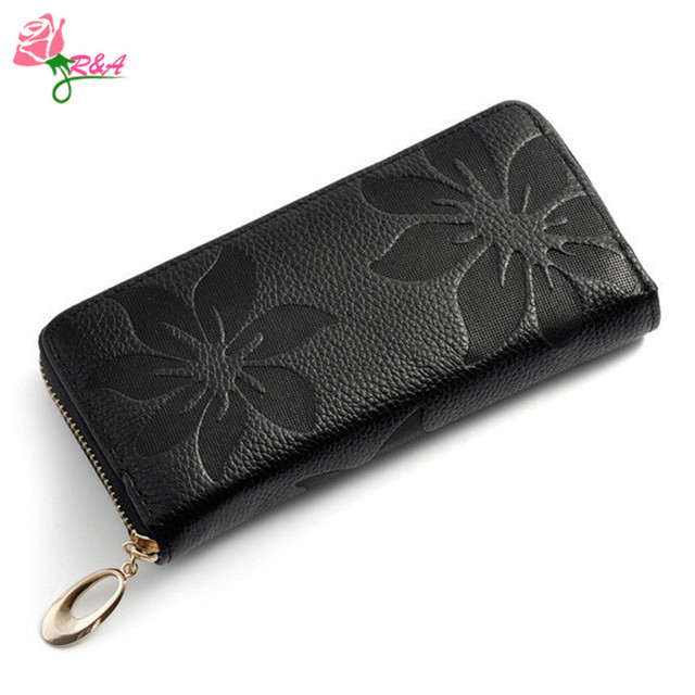 2015 Women Wallet Fashion Flower Print Genuine Leather Wallets Coin Purse Female Clutches Long Zipper Purses Ladies Card Holder