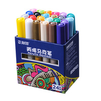 STA 12/24/28Colors Waterproof Acrylic Water Based Markers Drawing DIY Permanent Paint Pen For Wood Tyre Car Metal Fabric plastic